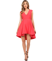 Halston Heritage - Cap Sleeve V-Neck Structured Dress with Hi-Lo Skirt