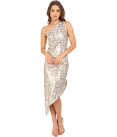 Halston Heritage - One Shoulder Asymmetrical Hem All Over Sequin Stripe Embellished Dress