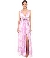 Halston Heritage - Sleeveless V-Neck Print Blocked Chiffon Gown