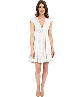 Halston Heritage - Cap Sleeve V-Neck Printed Structured Dress