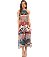 Donna Morgan - Sleeveless Chiffon Printed Midi Dress with High-Low Hem