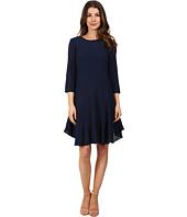Donna Morgan - 3/4 Sleeve Novelty Woven Dress with Asymmetrical Hem
