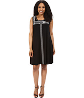 Karen Kane Plus - Plus Size Embroidered Sleeveless Trapeze Dress