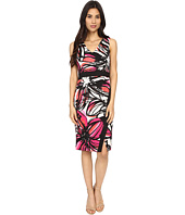 Maggy London - Scribble Daisy Printed Scuba Sheath w/ Scissor Skirt