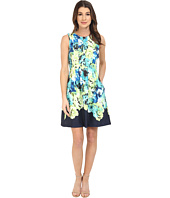 Vince Camuto - Sleeveless Scuba Dress w/ Waist Seam and Overlap Skirt