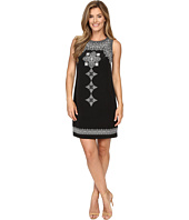 Vince Camuto - Sleeveless Ornate Blocks Panel Shift Dress