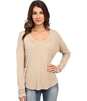 HEATHER - Long Sleeve Rib Shirt Tail Tee