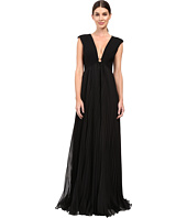 Halston Heritage - Cap Sleeve Deep V-Neck Gown with Pleated Skirt