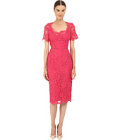 Marchesa Notte - Lace Sheath Cocktail Dress w/ Laddering Detail