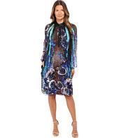 Alberta Ferretti - Long Sleeve Sheer Floral Dress