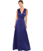 Alberta Ferretti - Sleeveless V-Neck Satin Gown