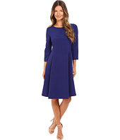 Alberta Ferretti - 3/4 Sleeve Boat Neck Pleated Dress