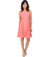 Adrianna Papell - Extended Shoulder Fit & Flare Laser Cut Scuba Dress