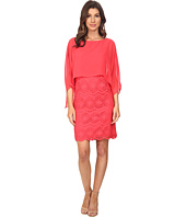 Adrianna Papell - Chiffon Capelet Lace Sheath Dress