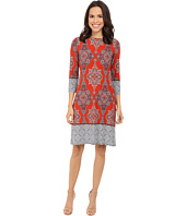 London Times - Carpet Border Long Sleeve Shift Dress