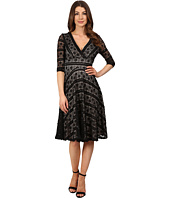 Sangria - 3/4 Sleeve Sequined Lace Fit & Flare Dress