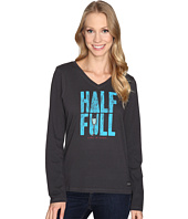 Life is Good - Half Full Champagne Long Sleeve Crusher Vee
