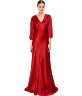 Alberta Ferretti - 3/4 Sleeve V-Neck Satin Gown