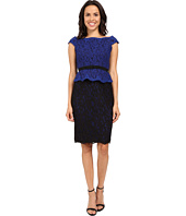 Adrianna Papell - Bi-Color Lace Wrap Peplum Dress