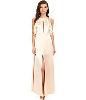 JILL JILL STUART - Satin Back Crepe Halter Ruffled Neck Gown