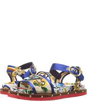 Dolce & Gabbana - Maolica Ceramic Print Mesh and Satin Sandal