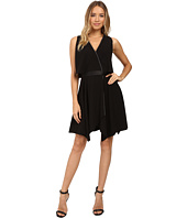 Halston Heritage - Faux Wrap with Deep V and Chain Piping