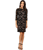 Adrianna Papell - Lined Carol Lace Sheath Dress with Jeweled Neckline