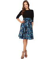 Adrianna Papell - Jersey and Floral Jacquard Fit and Flare Dress