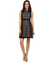 Adrianna Papell - Medallion Geo Lace Blocked Fit and Flare Dress