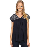 Lucky Brand - Sheer Yoke Embroidered Top