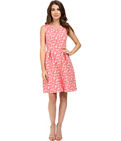 Adrianna Papell - Split Neck Fit and Flare Dress w/ Pleated Skirt