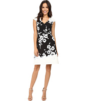 Adrianna Papell - Ikat Floral Printed Fit and Flare Dress