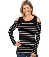 Vince Camuto - Long Sleeve Willow Stripe Cold-Shoulder Top