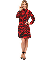 Vince Camuto - Long Sleeve Swept Check Belted Dress with Neck Scarf