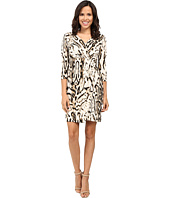 Tahari by ASL - 3/4 Sleeve Cheetah Faux Wap Dress