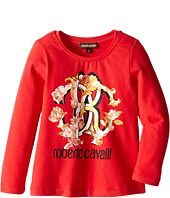 Roberto Cavalli Kids - Long Sleeve T-Shirt w/ Logo Floral Graphic (Toddler/Little Kids)
