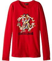 Roberto Cavalli Kids - Long Sleeve T-Shirt w/ Logo Floral Graphic (Big Kids)