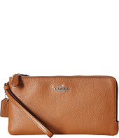 COACH - Polished Pebbled Double Zip Wallet