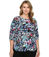 NYDJ Plus Size - Plus Size Solid 3/4 Sleeve Pleat Back