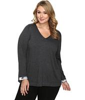 NYDJ Plus Size - Plus Size Mixed Media V-Neck Sweater