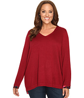 NYDJ Plus Size - Plus Size Mixed Media V-Neck Sweater