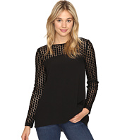 kensie - Smooth Stretch Crepe Top with Lace Detail KSNK4240