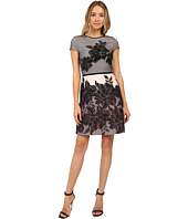 Christin Michaels - Zahra Mesh Overlay Fit and Flare Dress
