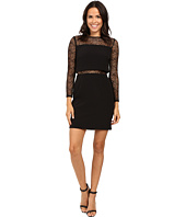 Aidan Mattox - Long Sleeve Crepe Dress w/ Pop Over Top and Stretch Lace Detail