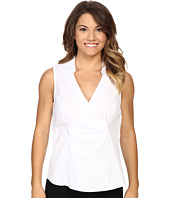 NYDJ Petite - Petite Sleeveless Stretch Cotton Poplin Wrap Blouse
