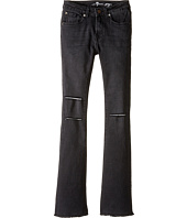 7 For All Mankind Kids - The Ginger Wide Leg Flare Stretch Denim Jeans in Destroyed Black (Big Kids)