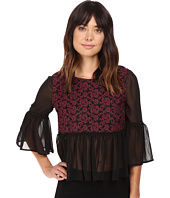Jack by BB Dakota - Arwen Embroidiered Mesh Top w/ Chiffon