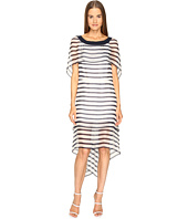 Alberta Ferretti - Short Sleeve Striped Cape Dress