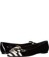 Salvatore Ferragamo - Striped Patent Leather Ballerina Flat