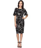 Christin Michaels - Adoria Bell Sleeve Printed Crepe Midi Dress